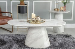 Urban Deco Carrera White Marble Coffee Table