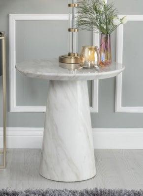 Urban Deco Carrera White Marble Lamp Table