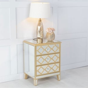 Casablanca Mirrored 3 Drawer Bedside Cabinet with Gold Trim