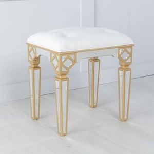 Casablanca Mirrored Stool with Gold Trim