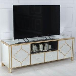 Casablanca Mirrored TV Unit with Gold Trim