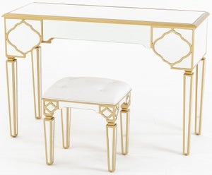 Casablanca Mirrored Dressing Table with Gold Trim