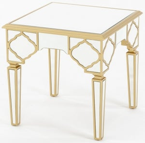 Casablanca Mirrored Side Table with Gold Trim