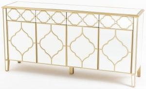 Casablanca Mirrored 4 Door Large Sideboard with Gold Trim
