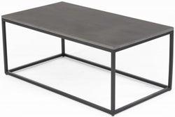 Odom Faux Concrete Top Coffee Table - Black Metal Base