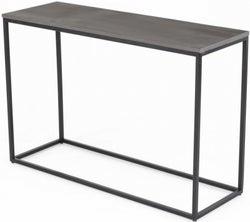 Odom Faux Concrete Top Console Table - Black Metal Base