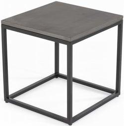 Odom Faux Concrete Top Side Table - Black Metal Base