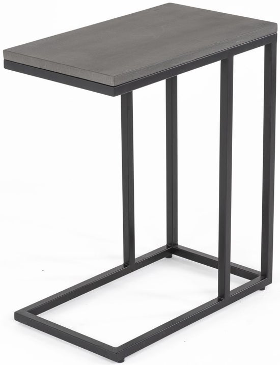 Odom Faux Concrete Top Supper Table - Black Metal Base