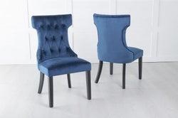 Courtney Upholstered Dining Chair / Black legs - Luxurious Blue Velvet