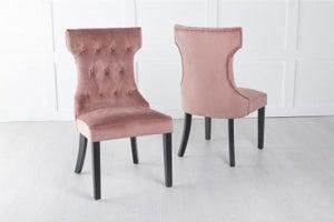 Courtney Upholstered Dining Chair / Black legs - Luxurious Pink Velvet