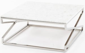 Crossroad White Marble Coffee Table - Square Stainless Steel Chrome Base