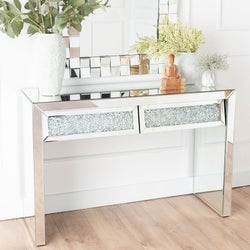 Crushed Diamond Mirrored 2 Drawer Dressing Table