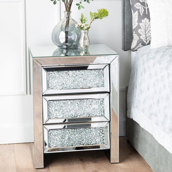 Crushed Diamond Mirrored 3 Drawer Bedside Cabinet