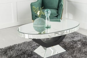 Crystal Mirrored Oval Coffee Table - Black Base