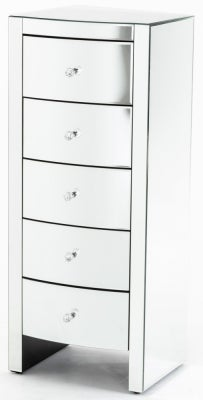 Curved Mirrored 5 Drawer Narrow Chest - Tallboy