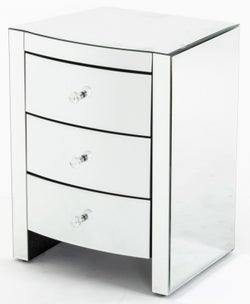 Curved Mirrored Bedside Cabinet - 3 Drawer