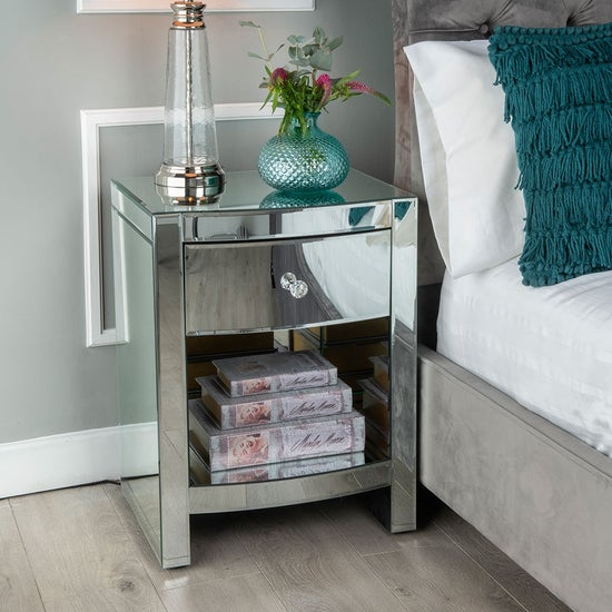 Curved Mirrored Bedside Table - 1 Drawer
