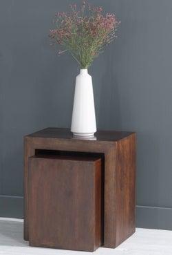 Dakota Indian Mango Wood Cube Nest Tables - Dark