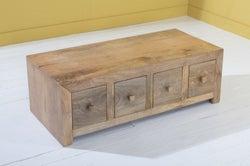 Dakota Indian Mango Wood 8 Drawer Storage Coffee Table - Light