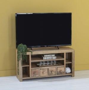 Dakota Indian Mango Wood Corner TV Unit - Light