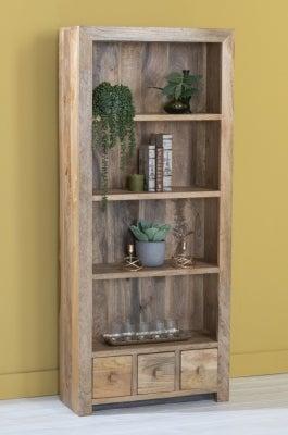 Dakota Indian Mango Wood 3 Drawer Large Bookcase - Light