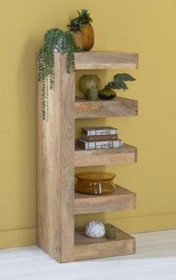 Dakota Indian Mango Wood Open Shelf Unit - Light
