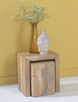 Dakota Indian Mango Wood Cube Nest Tables - Light