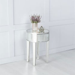 Elysee Mirrored Round Side Table with Champagne Trim