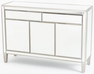 Elysee Mirrored Large Sideboard - 3 Door with Champagne Trim