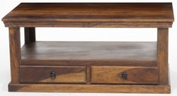 Ganga Sheesham Storage Coffee Table - 2 Drawers with Shelf