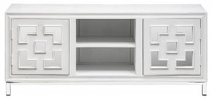 Urban Deco Geo 152cm White Mirrored and Stainless Steel Chrome Base Large TV Unit