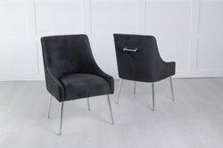 Giovanni Soft Black Velvet Dining Chair with Back Handle / Chrome Legs