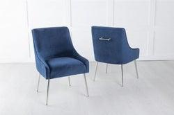 Giovanni Soft Blue Velvet Dining Chair with Back Handle / Chrome Legs