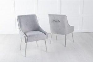 Giovanni Soft Light Grey Velvet Dining Chair with Back Handle / Chrome Legs