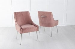 Giovanni Soft Pink Velvet Dining Chair with Back Handle / Chrome Legs