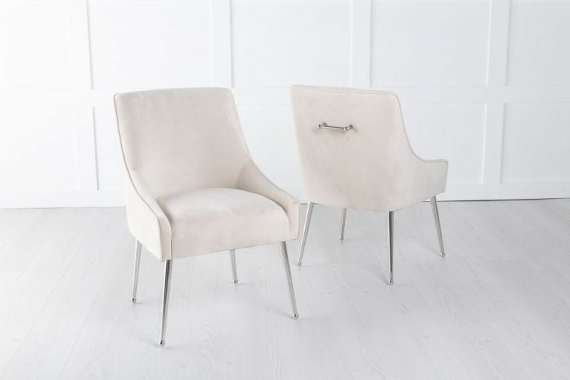 Giovanni Soft Champagne Velvet Dining Chair with Back Handle / Chrome Legs