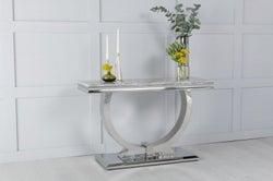 Urban Deco Glacier Grey Marble and Chrome Console Table