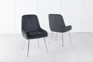 Hamilton Diamond Stitched Dining Chair / Chrome Legs - Quilted Black Velvet