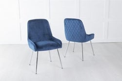 Hamilton Diamond Stitched Dining Chair / Chrome Legs - Quilted Blue Velvet
