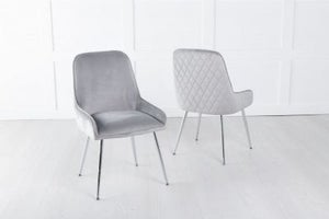 Hamilton Diamond Stitched Dining Chair / Chrome Legs - Quilted Light Grey Velvet
