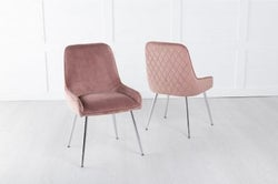 Hamilton Diamond Stitched Dining Chair / Chrome Legs - Quilted Pink Velvet