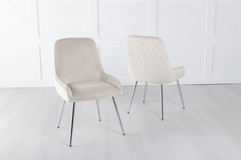 Hamilton Diamond Stitched Dining Chair / Chrome Legs - Quilted Champagne Velvet