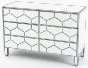 Honeycomb Mirrored 6 Drawer Wide Chest