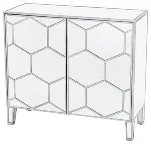 Honeycomb Mirrored Small Sideboard - 2 Door