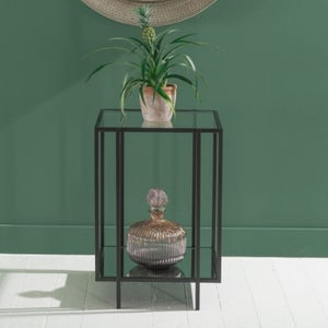 Hyde Black Side Table - Square Glass Top