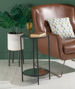Hyde Black Metal Side Table - Round Glass Top