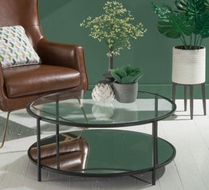 Hyde Black Metal Coffee Table - Round Glass Top