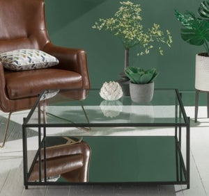 Hyde Black Metal Coffee Table - Square Glass Top