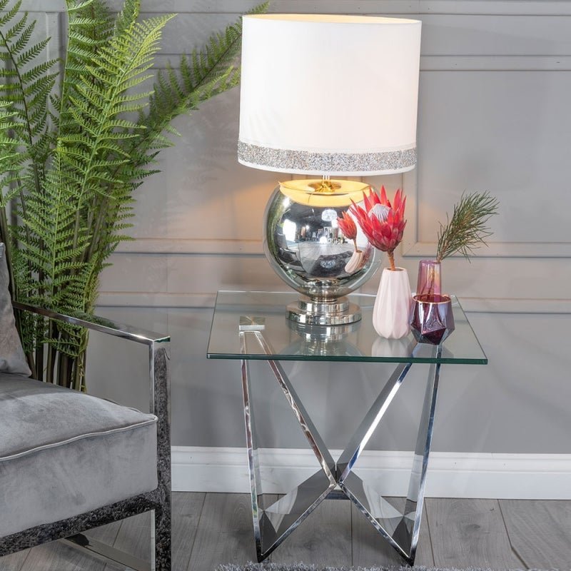 Urban Deco Jazz Glass and Chrome Side Table