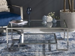Knightsbridge Glass Coffee Table - Stainless Steel Chrome Base